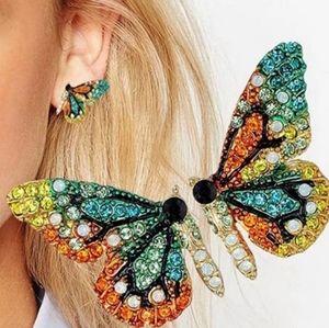 Butterfly rainbow crystal studded earings